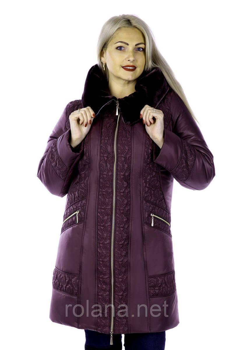 """Стильная куртка из новой коллекции  """"ROLANA"""" (с отделкой из мутона на капюшоне) """"Слива"""""""