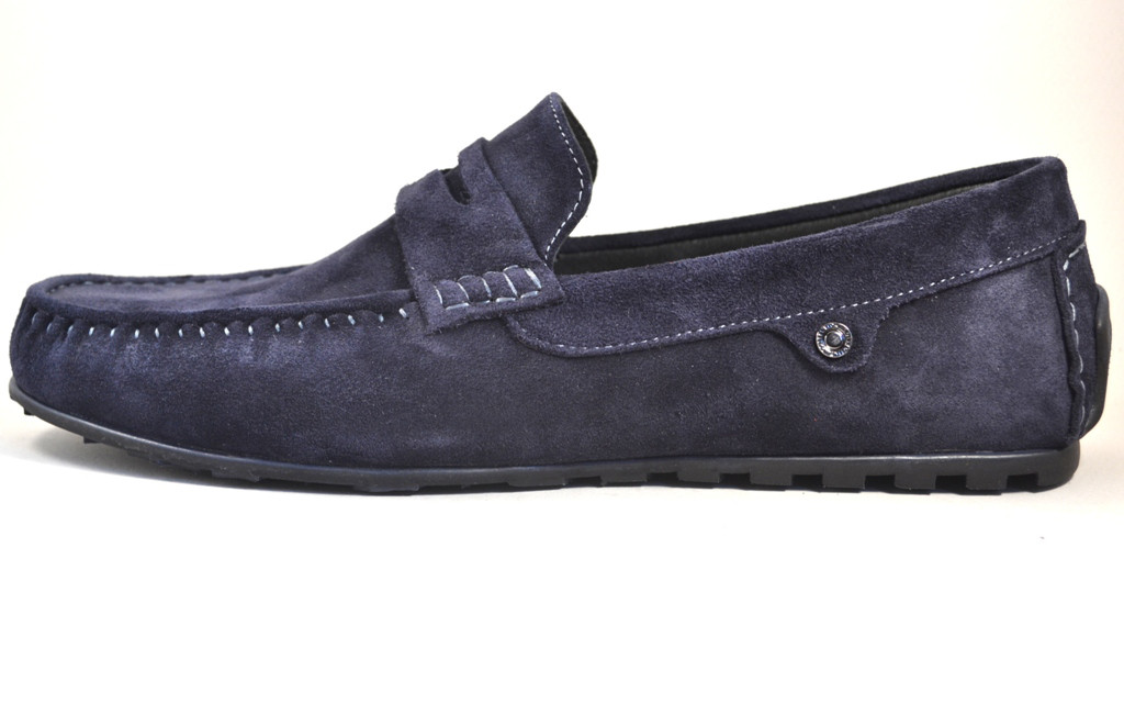 Мужские мокасины синие замшевые стильные обувь летняя ETHEREAL Classic Blu Vel by Rosso Avangard