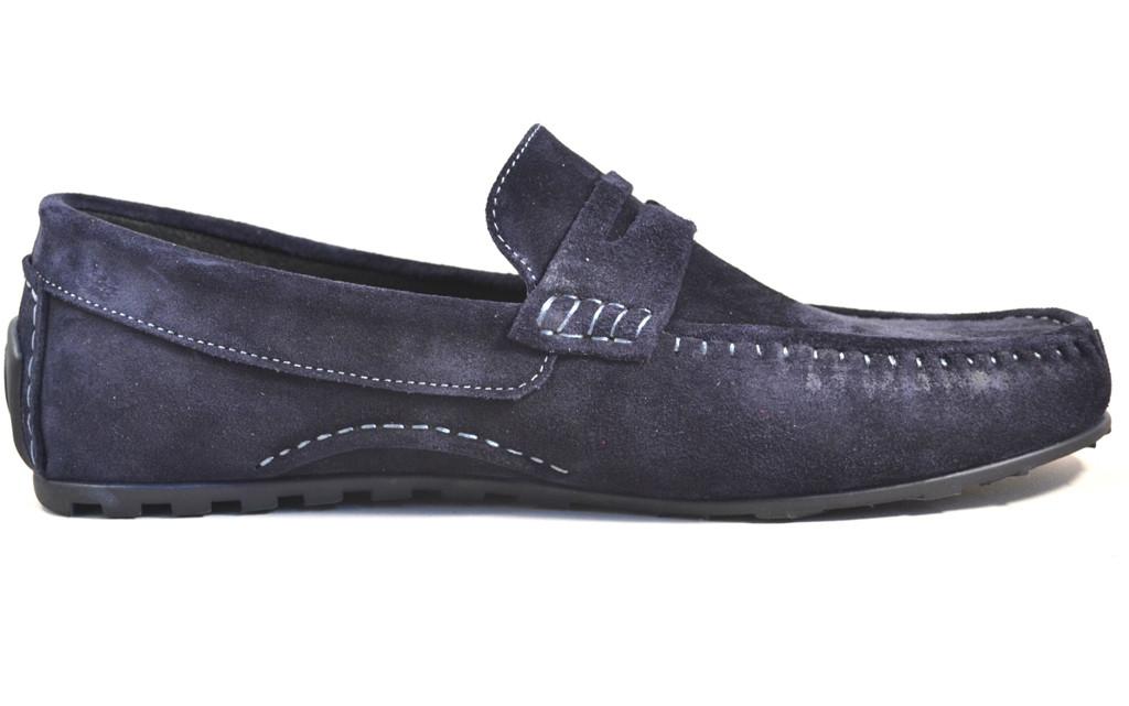 Мужские мокасины синее замшевые летние обувь больших размеров ETHEREAL BS Classic Blu Vel by Rosso Avangard