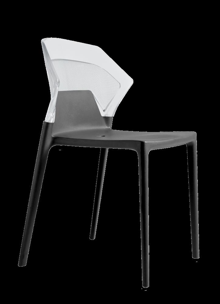 Стул Papatya Ego-S антрацит сиденье, верх прозрачно-чистый