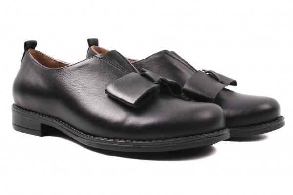 Туфли женские на низком ходу из натуральной кожи, черные, Wasak Польша.