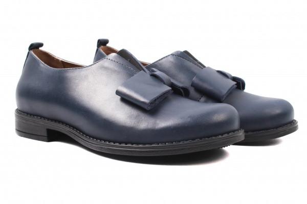 Туфли женские на низком ходу из натуральной кожи, синие, Wasak Польша.