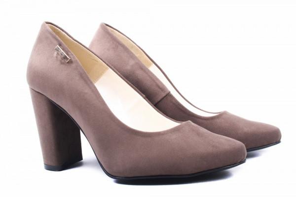 Туфли женские на большом каблуке из экозамши, цвет визон, Zan Zara Польша