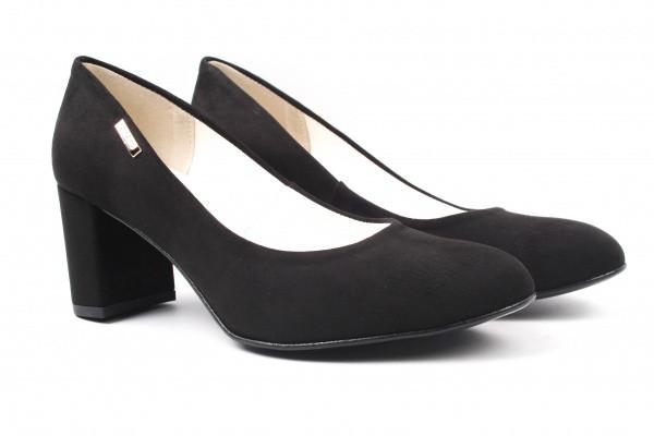 Туфли женские на каблуке из экозамши, черные, Zan Zara Польша.