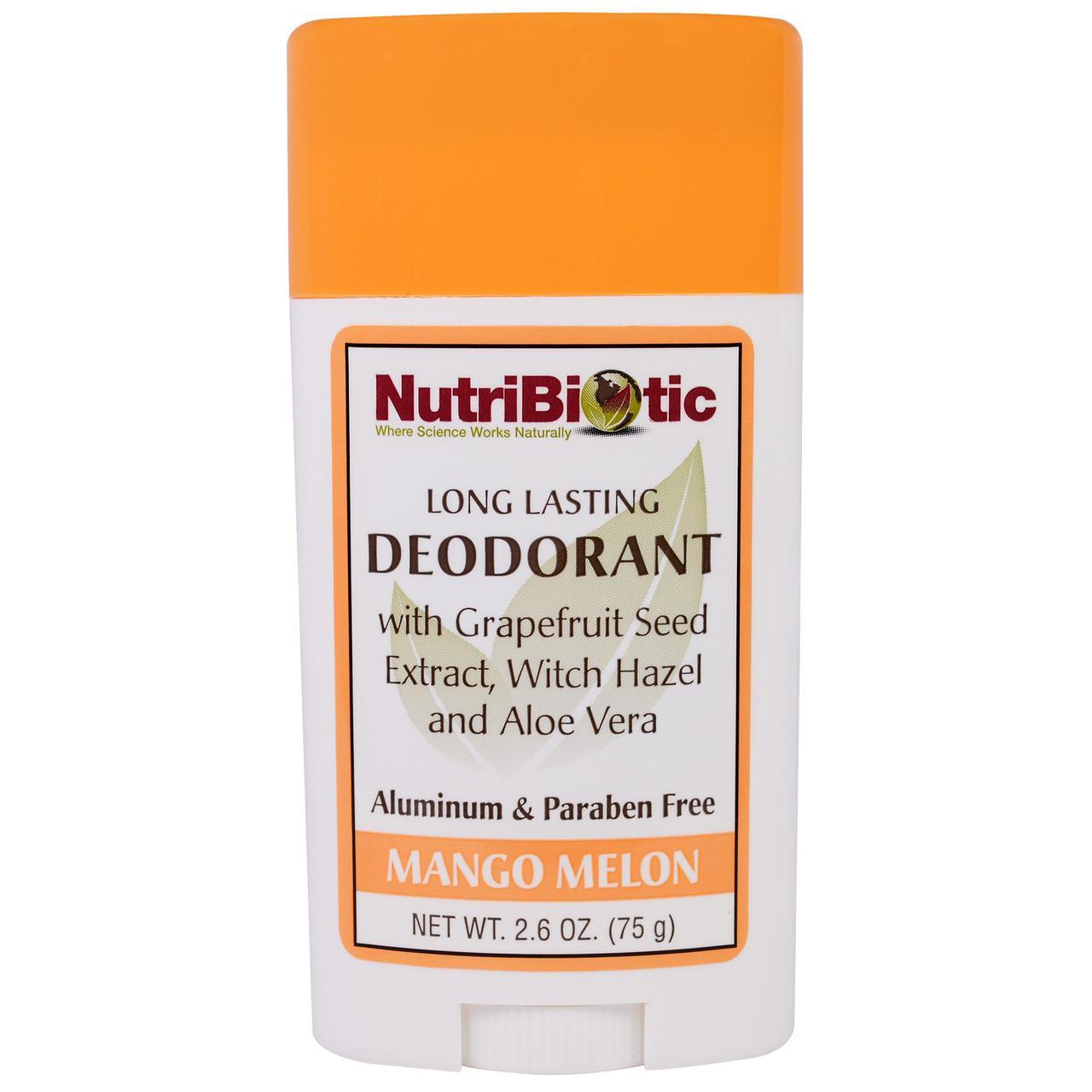 NutriBiotic, Дезодорант длительного действия с ароматом манго и дыни, 2,6 унции (75 г)
