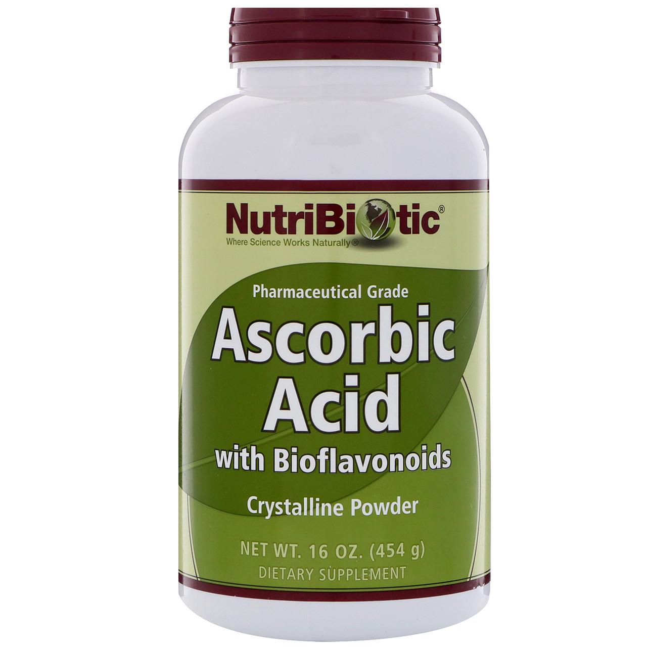 NutriBiotic, Аскорбиновая кислота с биофлавонидами, кристаллический порошок, 16 унц. (454 г)