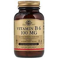 Solgar, Витамин B6, 100 мг, 250 растительных капсул