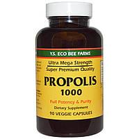 Y.S. Eco Bee Farms, Прополис 1000, 500 mg, 90 овощных капсул