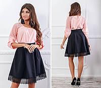Блузка с кружевными вставками ( арт.117),ткань бенгалин+кружево, цвет розовая пудра, фото 1