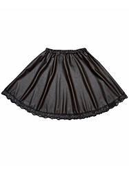 Шкільна чорна спідниця для дівчинки з екошкіри