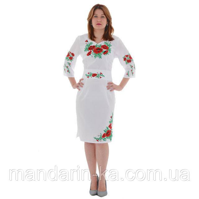 Платье женское белое вышитое Соломия  в  этно -стиле