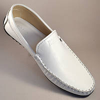 Мокасины белые кожаные мужская обувь больших размеров Rosso Avangard BS M4 Max White