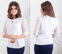 Блузка с брошью и кружевными рукавами ( арт.122),ткань бенгалин+кружево, цвет белый, фото 1