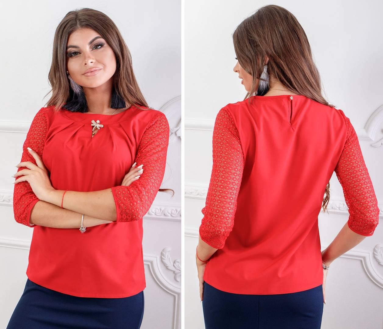 Блузка с брошью и кружевными рукавами ( арт.122),ткань бенгалин+кружево, цвет красный