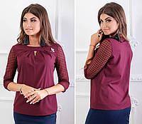 Блузка с брошью и кружевными рукавами ( арт.122),ткань бенгалин+кружево, цвет бордо, фото 1