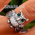 Серебряное кольцо Сова с зелеными глазками и фианитами, фото 5