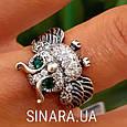 Серебряное кольцо Сова с зелеными глазками и фианитами, фото 7