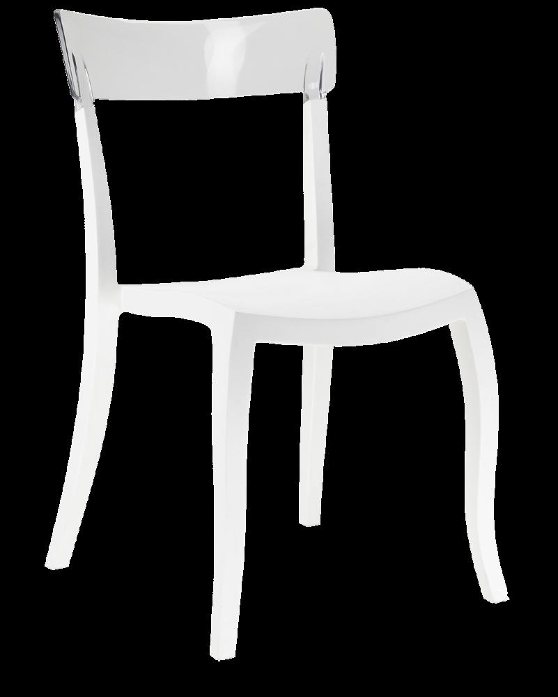 Стул Papatya Hera-S белое сиденье, верх прозрачно-чистый