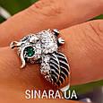 Серебряное кольцо Сова с зелеными глазками и фианитами, фото 8