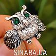Серебряное кольцо Сова с зелеными глазками и фианитами, фото 4