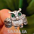 Серебряное кольцо Сова с зелеными глазками и фианитами, фото 3