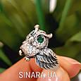 Серебряное кольцо Сова с зелеными глазками и фианитами, фото 2