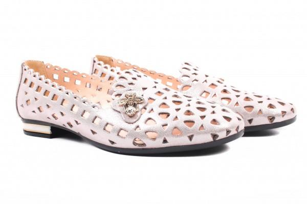 Туфли комфорт женские летние на низком ходу Destino натуральный сатин, цвет капучино