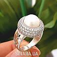 Серебряное кольцо с жемчугом - Кольцо с жемчугом родированное серебро, фото 3