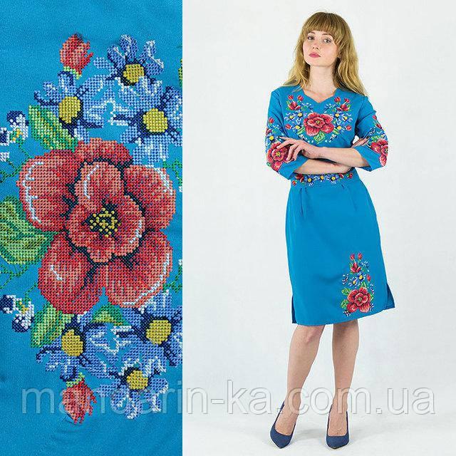 Платье с вышивкой Мальва тиффани