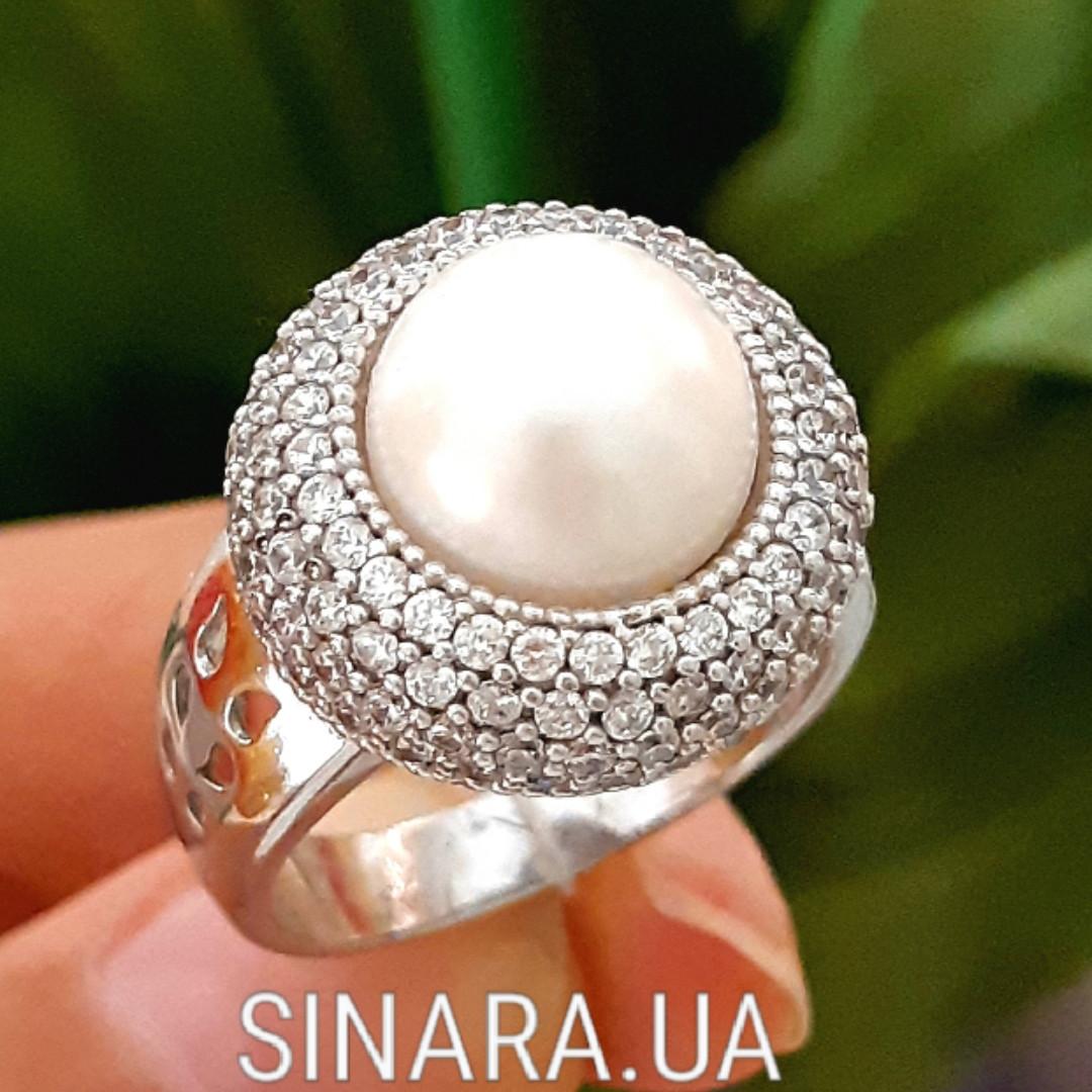 Серебряное кольцо с жемчугом - Кольцо с жемчугом родированное серебро
