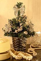 Елка маленькая украшенная серебром 20 см 0424 S, фото 2