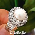 Серебряное кольцо с жемчугом - Кольцо с жемчугом родированное серебро, фото 2