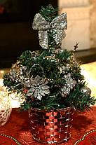 Елка маленькая украшенная серебром 20 см 0424 S, фото 3