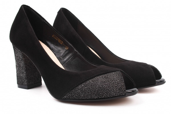 Туфли на каблуке Angels натуральная замша, цвет черный