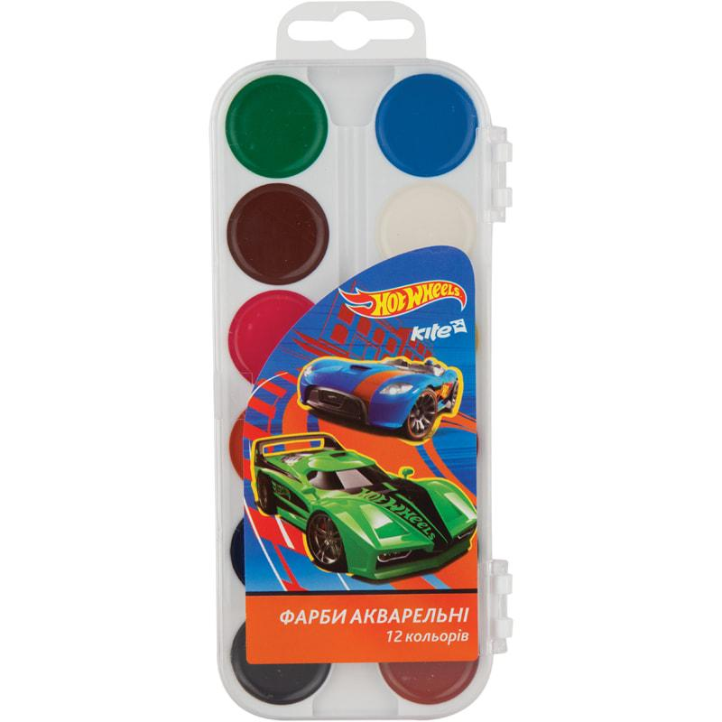 Краски акварельные Kite Hot Wheels 12 цветов
