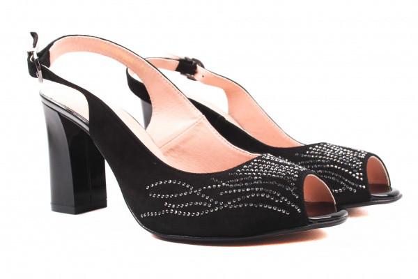 Босоножки женские на каблуке Angels Турция натуральная замша, цвет черный