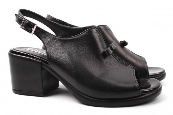 Босоножки женские на каблуке Guero Турция натуральная кожа, цвет черный