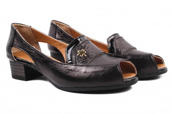Туфли комфорт женские на низком ходу Guero Турция натуральная кожа, цвет черный