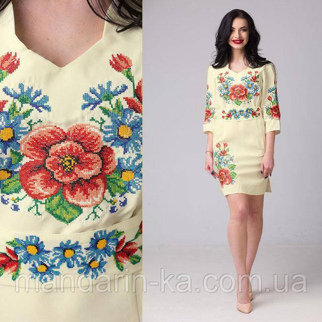 Женское платье вышиванка Мальва айвори