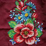 Платье женское бордовое  вышитое Мальва  в этно -стиле., фото 4