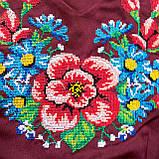 Платье женское бордовое  вышитое Мальва  в этно -стиле., фото 6
