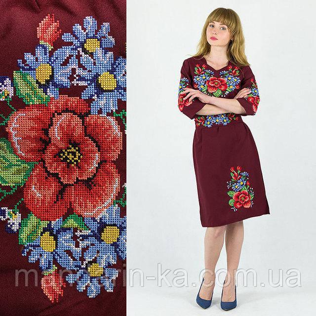Платье женское бордовое  вышитое Мальва  в этно -стиле.