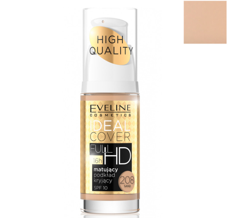 Матирующий тональный крем Eveline Cosmetics Ideal Cover Full HD SPF10 тон 208 Sand