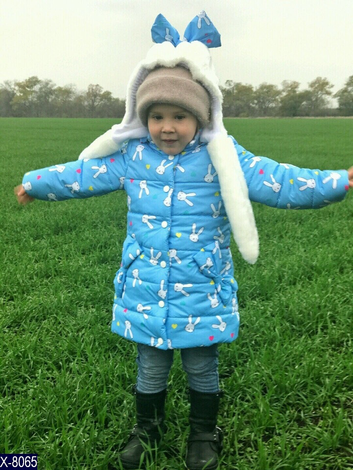 Куртка зимняя удлинённая Зайчик для девочки 104-110, 110-116, 92-98, 98-104 синтепон 200, флис