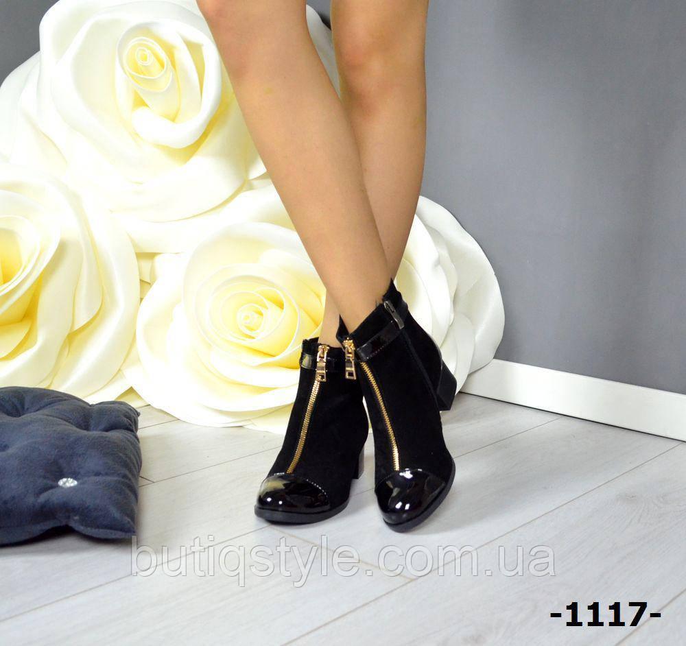 Женские черные ботинки с ремешком натуральный замш + лак