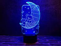 "Детский ночник ""Мишка на луне"" 3DTOYSLAMP, фото 1"