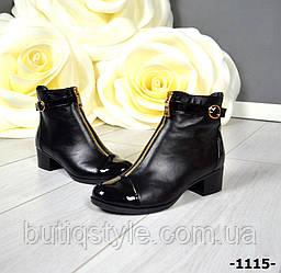 Демисезонные кожаные женские ботинки STIL на молнии натур кожа