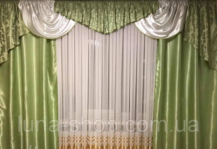 Готовые шторы с ламбрекеном Эвелина, зеленый