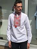 Підліткова вишиванка c червоно-помаранчевої вишивкою, фото 4