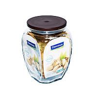 Стеклянный контейнер-банка для хранения сыпучих продуктов с крышкой Glasslock, 500 мл., квадратный, коричневый (IP536)